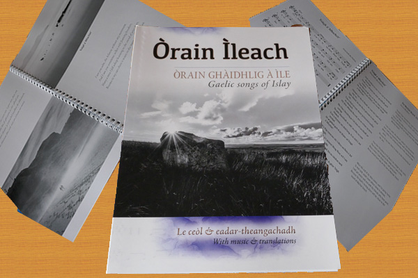 A collage of impressions of the Òrain Ìleach Islay Gaelic Songbook