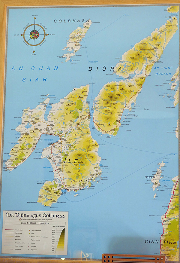 Picture of a map of Islay, Jura and Colonsay in Gaelic