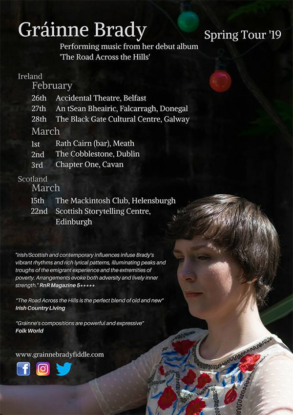 Tour poster for Gráinne Brady's spring tour 2019 with dates and more