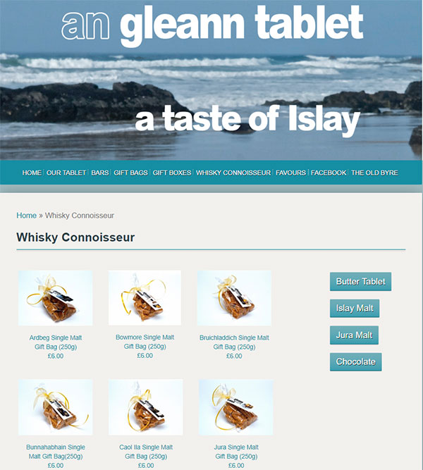 Screenshot of the An Gleann Tablet - Whisky Connoisseur selection page