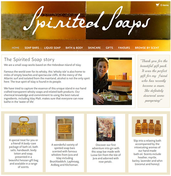 Screenshot of the Spirited Soaps website
