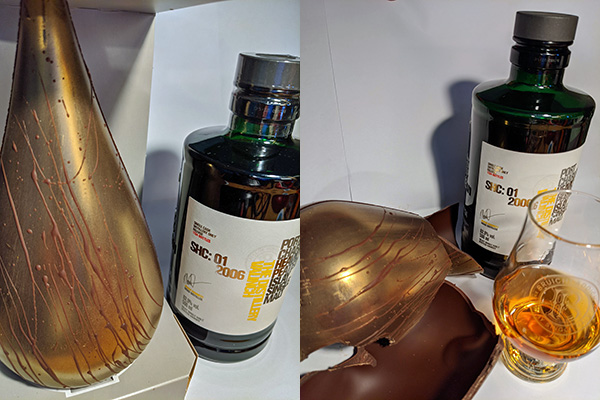 Dual before and after picture of my Bruichladdich Port Charlotte SHC: 01 2006 Islay single malt whisky and some golden chocolate