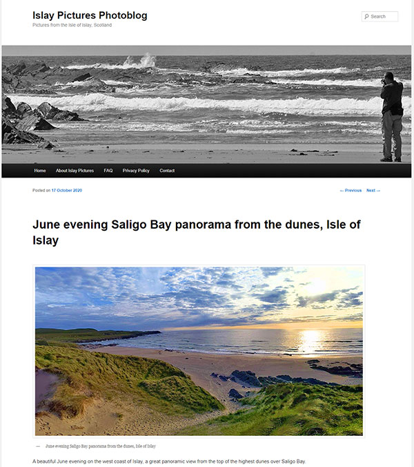 Screenshot of a post on the Islay Pictures Photoblog in Oct 2020
