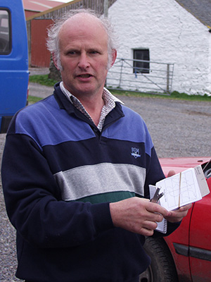 Picture of Ian Brooke showing and explaining the WalkIslay cards